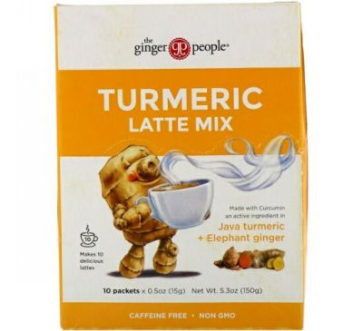 The Ginger People, Turmeric Latte Mix, 10 packets, 05 oz (15 g) Each
