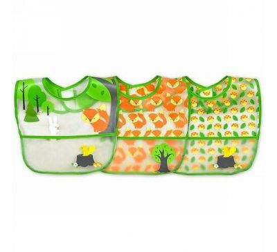 i play Inc., Green Sprouts, Wipe-Off Bib, 9-18 Months, Green Fox Set, 3 Pack
