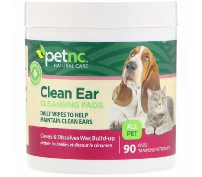 petnc NATURAL CARE, Clean Ear Cleansing Pads, For Cats and Dogs, 90 Pads